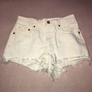 Levi's High-Waisted White Denim Shorts size 24